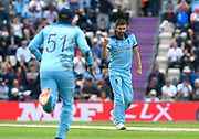 Wicket - Mark Wood of England celebrates taking the wicket of Andre Russell of West Indies during the ICC Cricket World Cup 2019 match between England and West Indies at the Ageas Bowl, Southampton, United Kingdom on 14 June 2019.