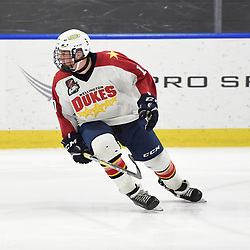 BUFFALO, NY - SEP 20,  2017: Ontario Junior Hockey League Governors Showcase game between the Toronto Jr. Canadiens and Wellington Dukes, Graeme McCrory #10 of the Wellington Dukes pursues the play during the third period.<br /> (Photo by Andy Corneau / OJHL Images)