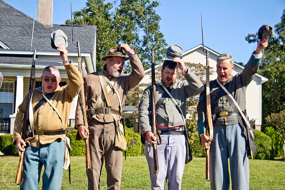 Local residents of Sylvester, Ga reenact Civil War Confederate Soldiers soluting to their brothers at the Sylvester, Ga., Peanut Festival on October 15, 2011.