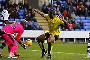 Burton's Chris O'Grady (8) has a shot for Burton but is saved by Reading's Ali Al Habsi (1) during the EFL Sky Bet Championship match between Reading and Burton Albion at the Madejski Stadium, Reading, England on 19 November 2016. Photo by Richard Holmes.