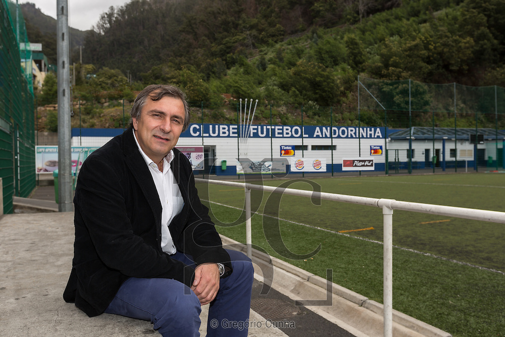 Portugal, MADEIRA, Funchal city : Rui Santos, former president of Cristiano Ronaldo 1st club , Clube Futebol Andorinha, photographed in the current football field of regional club in Funchal city, Madeira Island, Portugal.<br /> Photo Greg&oacute;rio Cunha
