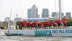 © Licensed to London News Pictures. 01/09/2013. London, UK The Start of The Clipper Round the World Race. The crew of the Jamaican clipper strike the Usain Bolt pose. Photo credit : Mike King/LNP