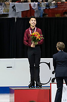KELOWNA, BC - OCTOBER 27: Mens long program silver medalist, Canadian figure skater Nam Nguyen stands on the podium at Prospera Place on October 27, 2019 in Kelowna, Canada. (Photo by Marissa Baecker/Shoot the Breeze)