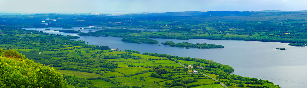 View overlooking the Mouth of Lower Lough Erne from Magho viewpoint in Lough Navar Forest Park at 135mm