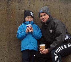 Martin and Ruairi Gill supporting Rice College at the Connacht GAA Post Primary Senior A Football final at Tuam Stadium.<br />Pic Conor McKeown