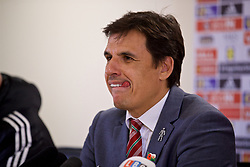 CARDIFF, WALES - Tuesday, November 14, 2017: Wales' manager Chris Coleman during the post-match press conference following the 1-1 draw with Panama after the international friendly match between Wales and Panama at the Cardiff City Stadium. (Pic by David Rawcliffe/Propaganda)