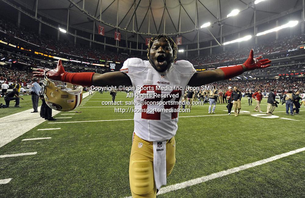 Jan. 20, 2013 - Atlanta, Georgia, U.S. - The San Francisco 49ers' ANTHONY DIXON (24) celebrates his team's 28-24 win over the Atlanta Falcons in the NFC Championship game at the Georgia Dome on Sunday