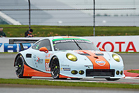 Michael Wainwright (GBR) / Adam Carroll (GBR) / Ben Barker (GBR) #86 Gulf Racing UK Porsche 911 RSR, during Free Practice 1  as part of the WEC 6 Hours of Silverstone 2016 at Silverstone, Towcester, Northamptonshire, United Kingdom. April 15 2016. World Copyright Peter Taylor. Copy of publication required for printed pictures.