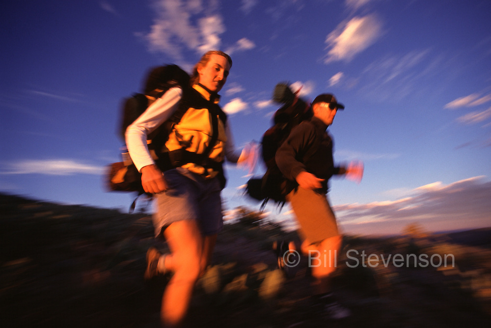 A picture of a couple hiking in the Sierra mountains of California.