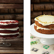 Layered red velvet cake & courgette cake, Anderson & Co