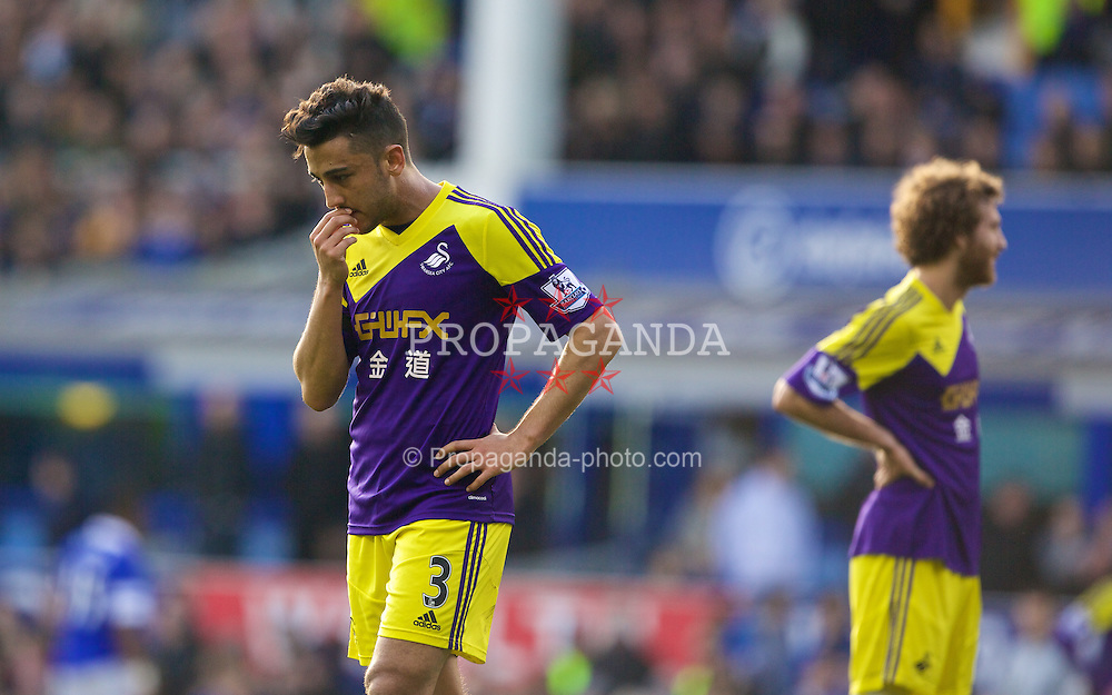 LIVERPOOL, ENGLAND - Sunday, February 16, 2014: Neil Taylor of Swansea City shows a look of dejection during the FA Cup 5th Round match against Everton at Goodison Park. (Pic by David Rawcliffe/Propaganda)