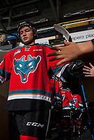 KELOWNA, CANADA - OCTOBER 13: Colum McGauley #23 of the Kelowna Rockets high fives fans as he walks to the ice against the Calgary Hitmen on October 13, 2017 at Prospera Place in Kelowna, British Columbia, Canada.  (Photo by Marissa Baecker/Shoot the Breeze)  *** Local Caption ***