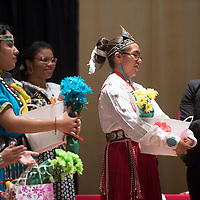 Brianna Williams receives applause after being awarded the 2018 Saint Michael Indian School Princess Pageant crown in St. Michael Thursday.