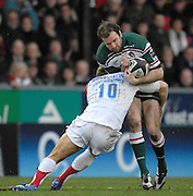 Leicester, GREAT BRITAIN,  Falcons Jonny WILKINSON gets his tackle in on  Tiger Geordan MURPHY, during the Guinness Premiership game, Leicester Tigers vs Newcastle Falcons at Welford Road. 25.01.2008 [Mandatory Credit Peter Spurrier/Intersport Images]