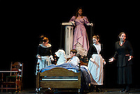 "Katiana Gamache as Betsy, Chandler Green as Colin, Meredith Ellis as Martha, Claire Gardner as Mrs. Medlock and Kayla Zarella as Lily during dress rehearsal for ""The Secret Garden"" at Gilford High School on Wednesday evening.  (Karen Bobotas/for the Laconia Daily Sun)"
