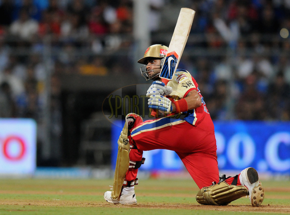 Virat Kohli of Royal Challengers Bangalore bats during match 54 of the Indian Premier League ( IPL) 2012  between The Mumbai Indians and the Royal Challengers Banglore held at the Wankhede Stadium in Mumbai on the 9th May 2012..Photo by Pal Pillai/IPL/SPORTZPICS..