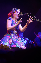 Cheltenham Jazz Festival, Cheltenham, United Kingdom, Gabby Young and Other Animals perform at Cheltenham Jazz Festival 2013. The world's finest purveyors of circus swing, with seductive vocals, a nod to burlesque and a charismatically quirky performance style, Gabby Young and Other Animals light up The Big Top stage at the festival, with a classy reimaging of vaudeville, cabaret and folk. Monday 06 May, 2013, Photo by: Rosalind Butt/i-Images