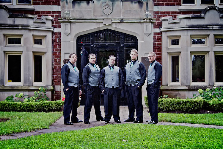 The groom poses with his groomsmen for a formal portrait. <br /> <br /> To view Katie and Brad's complete Wedding Gallery Collection, visit the Client Area and log-in. You'll be able to view all images as a slideshow, order prints and more.<br /> <br /> &copy; Images of a Promise by Dean Oros Photo + Design