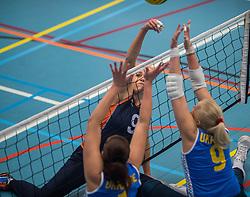14-02-2016 NED: Nederland - Oekraine, Houten<br /> De Nederlandse paravolleybalsters speelde een vriendschappelijke wedstrijd tegen Europees kampioen Oekra&iuml;ne. De equipe van bondscoach Pim Scherpenzeel bereidt zich tegen Oekra&iuml;ne voor op het Paralympisch kwalificatietoernooi in China, dat in maart wordt gespeeld /  Annelies van de Bilt #9 of Nederland