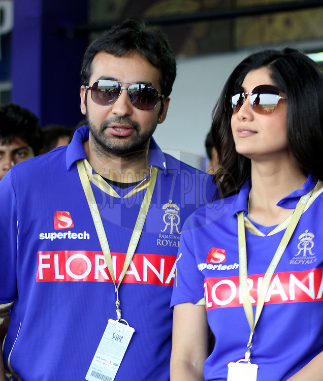 Raj Kundra and Shilpa Shetty ( owner of Rajasthan Royals) during match 7 of the the Indian Premier League ( IPL ) Season 4 between the Rajasthan Royals and the Delhi Daredevils held at the Sawai Mansingh Stadium, Jaipur, Rajasthan, India on the 12th April 2011..Photo by Sandeep ShettyBCCI/SPORTZPICS