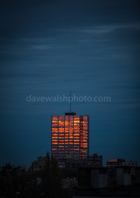 "Winter sunset hits a building in Brussels, November 2013. (c) Dave Walsh This mage can be licensed via Millennium Images. Contact me for more details, or email mail@milim.com For prints, contact me, or click ""add to cart"" to some standard print options."