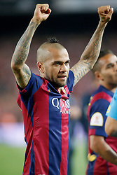 30.05.2015, Camp Nou, Barcelona, ESP, Copa del Rey, Athletic Club Bilbao vs FC Barcelona, Finale, im Bild FC Barcelona's Daniel Alves celebrates the victory // during the final match of spanish king's cup between Athletic Club Bilbao and Barcelona FC at Camp Nou in Barcelona, Spain on 2015/05/30. EXPA Pictures &copy; 2015, PhotoCredit: EXPA/ Alterphotos/ Acero<br /> <br /> *****ATTENTION - OUT of ESP, SUI*****