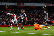 Danny Welbeck of Arsenal (left) thinks he has scored but the effort is ruled out for a foul during the Barclays Premier League match at the Emirates Stadium, London<br /> Picture by David Horn/Focus Images Ltd +44 7545 970036<br /> 13/12/2014