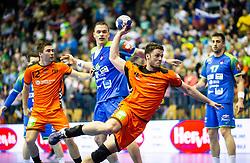 Evert Kooijman of Netherlands during handball match between National teams of Slovenia and Netherlands in Qualifications of 2020 Men's EHF EURO, on April 14, 2019, in Arena Zlatorog, Celje, Slovenia. Photo by Vid Ponikvar / Sportida