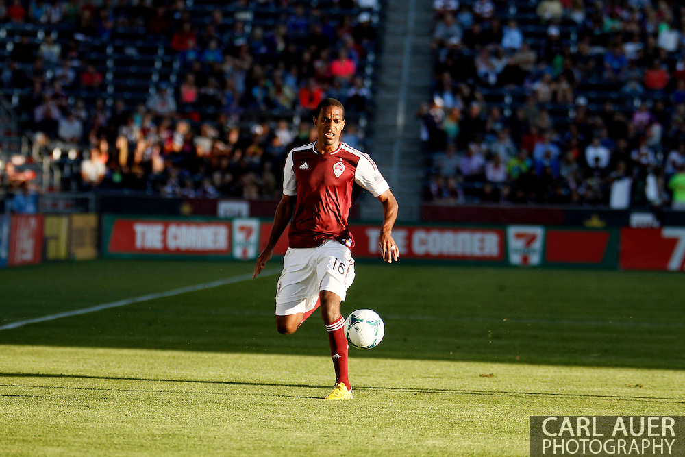 June 1st, 2013 - Colorado Rapids midfielder Atiba Harris (16) dribbles the ball up the pitch in first half action of the MLS match between FC Dallas and the Colorado Rapids at Dick's Sporting Goods Park in Commerce City, CO