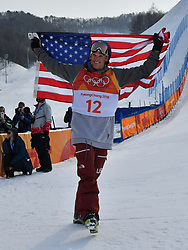 PYEONGCHANG, Feb. 18, 2018  Nick Goepper of the United States celebrates after the men's ski slopestyle of freestyle skiing at the 2018 PyeongChang Winter Olympic Games, at Phoenix Snow Park, South Korea, on Feb. 18, 2018. Nick Goepper won the silver medal with 93.60 points. (Credit Image: © Lui Siu Wai/Xinhua via ZUMA Wire)