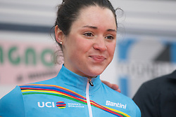 Sofia Bertizzolo celebrates winning the best young rider's Women's World Tour jersey after the Trofeo Alfredo Binda - a 131,1 km road race, between Taino and Cittiglio on March 18, 2018, in Varese, Italy. (Photo by Balint Hamvas/Velofocus.com)