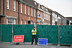 © Licensed to London News Pictures. 05/07/2018. Salisbury, UK. Barriers being erected around John Baker House in Salisbury, Wiltshire an area visited by two people who are in critical condition after being exposed to the Novichok nerve agent. Dawn Sturgess, 44, and Charlie Rowley, 45 hav been confirmed as having come in to contact with the deadly agent after samples were sent to the MoD's Porton Down laboratory. Former Russian spy Sergei Skripal and his daughter Yulia were poisoned with Novichok nerve agent in nearby Salisbury in March 2018 causing diplomatic tentions between Russia and the UK. Photo credit: Ben Cawthra/LNP