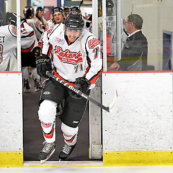 """FORT FRANCES, ON - Apr 30, 2015 : Central Canadian Junior """"A"""" Championship, game action between the Dryden GM Ice Dogs and the Fort Frances Lakers, game six of the Dudley Hewitt Cup. Roshen Jaswal #71 of the Fort Frances Lakers takes to the ice just prior to the start of the game.<br /> (Photo by Shawn Muir / OJHL Images)"""