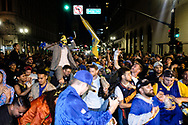 Golden State Warriors fans reveling in downtown Oakland, after the sweep win of the NBA 2018 finals