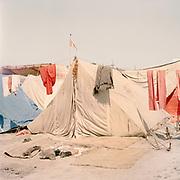 Hindu devotees' tents during the Kumbh Mela, India 2013.