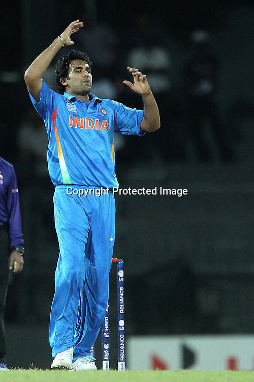 Zaheer Khan reacts after bowling during the ICC World Twenty20 match between India and Afghanistan held at the Premadasa Stadium in Colombo, Sri Lanka on the 19th September 2012<br /> <br /> Photo by Ron Gaunt/SPORTZPICS
