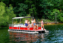 Arkansas: DeGray Lake.  Party barge with couples, model released. Photo #: arkans105..Photo copyright Lee Foster, 510/549-2202, lee@fostertravel.com, www.fostertravel.com