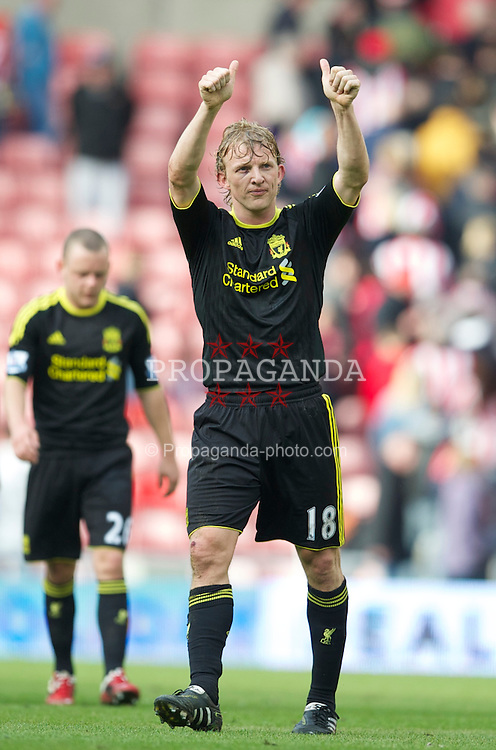 SUNDERLAND, ENGLAND - Sunday, March 20, 2011: Liverpool's goal-scorer applauds the travelling supporters after his side's 2-0 victory over Sunderland during the Premiership match at the Stadium of Light. (Photo by David Rawcliffe/Propaganda)
