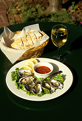 California: Marin County.  Food, oysters at Point Reyes Station. .Photo copyright Lee Foster, 510/549-2202, lee@fostertravel.com, www.fostertravel.com..Photo # camari103