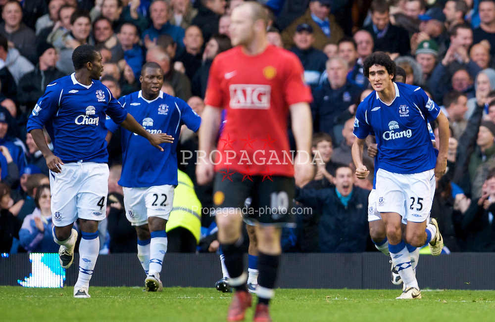 LIVERPOOL, ENGLAND - Saturday, October 25, 2008: Everton's Marouane Fellaini celebrates scoring the equaliser against Manchester United during the Premiership match at Goodison Park. (Photo by David Rawcliffe/Propaganda)
