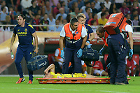 Villarreal player Gabriel is served by the medical serviceattending during the match between Sevilla FC and Villarreal day 9 spanish  BBVA League 2014-2015 day 5, played at Sanchez Pizjuan stadium in Seville, Spain. (PHOTO: CARLOS BOUZA / BOUZA PRESS / ALTER PHOTOS)