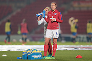 Jo Potter (England) takes a drink before the International Friendly match between England Women and France Women at the Keepmoat Stadium, Doncaster, England on 21 October 2016. Photo by Mark P Doherty.
