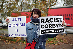 © Licensed to London News Pictures. 26/11/2019. London, UK. Protesters gather ahead of Labour Party Leader Jeremy Corbyn launching the party's new Race and Faith manifesto at an event in Tottenham Green, North London. Photo credit: Rob Pinney/LNP