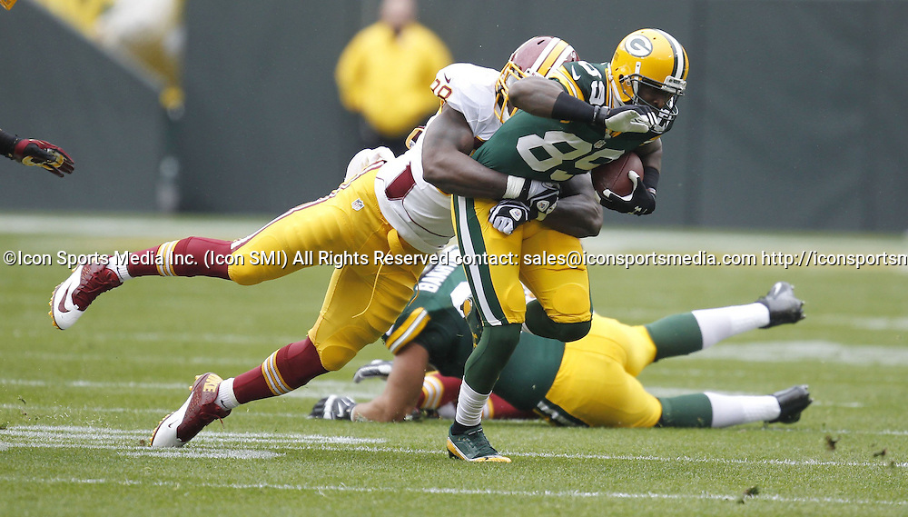 Sept. 15, 2013 - Green Bay, WI, USA - James Jones of the Green Bay Packers catches a 1st-quarter pass against the Washington Redskins at Lambeau Field in Green Bay, Wisconsin, on Sunday, September 15, 2013