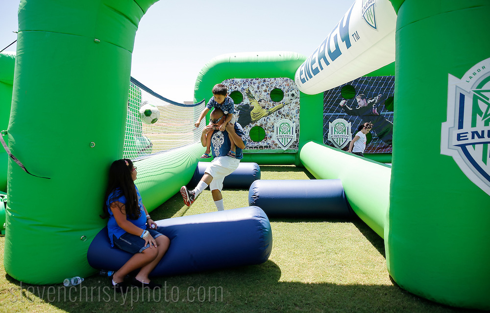 July 17, 2016: OKC Energy FC and the Oklahoma City County Health Department host a family fun day at the community field and the Energy practice facility in Oklahoma City, Oklahoma.