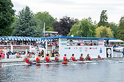Henley on Thames, England, United Kingdom, 6th July 2019, Henley Royal Regatta, Semi Final, The Princess Elizabeth Challenge Cup, Scotch College, Melbourne, Australia, leading <br /> St. Paul's School to the finish line, Henley Reach, [© Peter SPURRIER/Intersport Image]<br /> <br /> 15:41:29 1919 - 2019, Royal Henley Peace Regatta Centenary,