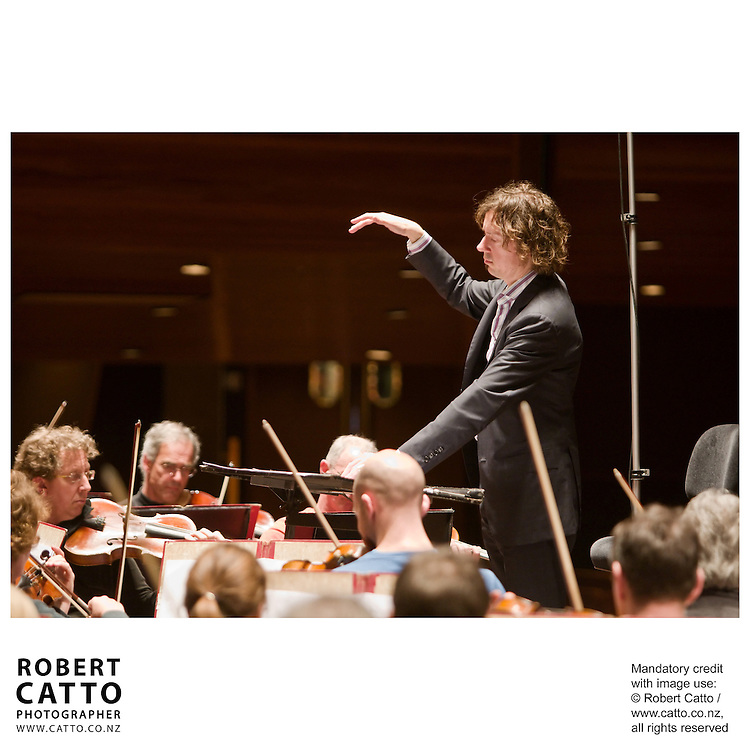 The New Zealand Symphony Orchestra (NZSO) perform works by young composers at the Michael Fowler Centre, Wellington.