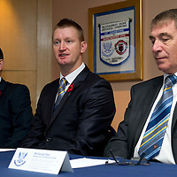 New St Johnstone Manager Steve Lomas pictured at McDiarmid Park this morning with Chairman Geoff Brown (right) who is standing down as Chairman and his son Steve Brown (left) will take over....03.11.11<br /> Picture by Graeme Hart<br /> COPYRIGHT: Perthshire Picture Agency.<br /> Tel. 01738 623350 / 07990 594431