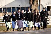 Amish women walk in a group in Gordonville, PA.