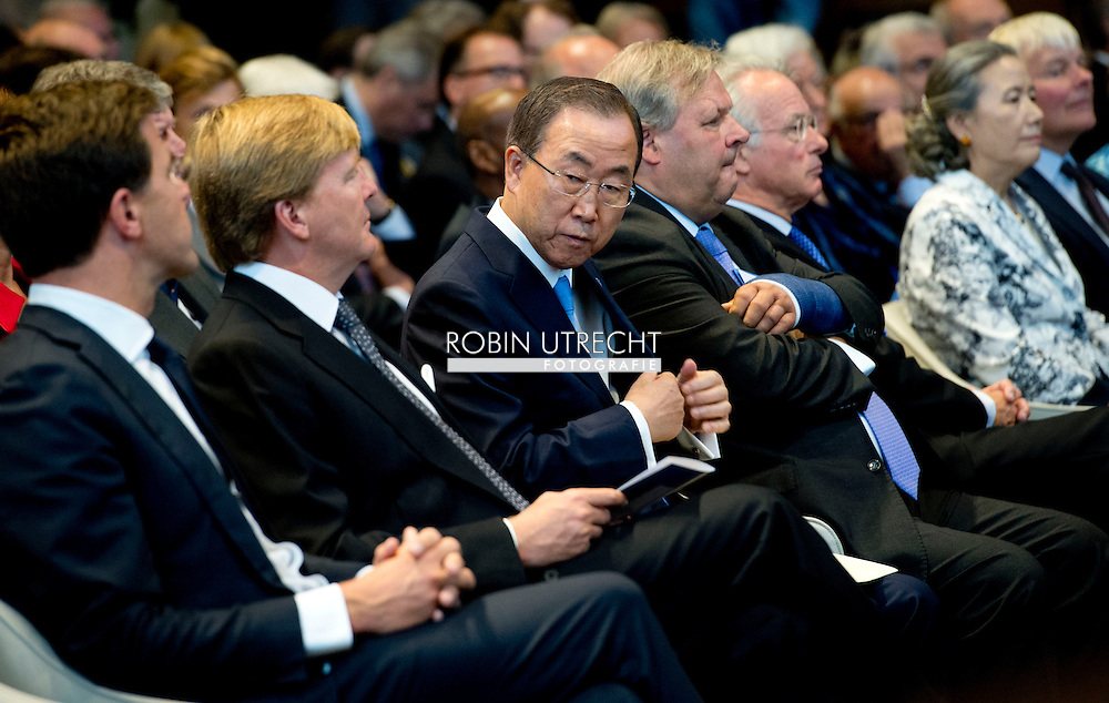 Aug. 28 , 2013  The Hague King Willem-Alexander meets Secretary-General of the United Nations, BanKi-moon  at the start of the celebration of the 100th anniversary of the Peace Palace in The Hague.<br /> The King received a commemorative book.<br /> Secretary-General of the United Nations, BanKi-moon . (photo by Robin Utrecht/Sipa USA ) NETHERLANDS AND GERMANY OUT